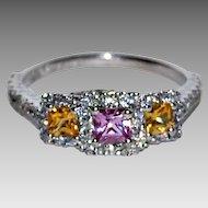 PINK & YELLOW SAPPHIRE Ring - 77 Diamonds, 18k Gold - very fine