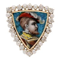 Antique LIMOGES ENAMEL PORTRAIT Brooch Pendant - 14K, Diamonds, Pearls