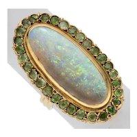 Massive size OPAL & DEMANTOID GARNET Ring - 14k Gold, Antique - Very Fine