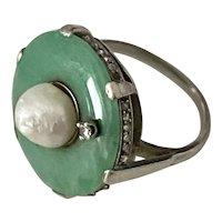 JADE RING - Baroque Pearl, Diamonds, Platinum - Art Deco, c1920s