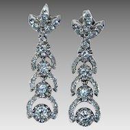 Long Vintage DIAMOND EARRINGS - 14K White Gold - Stunning