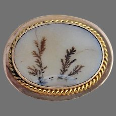 Antique MOSS AGATE BROOCH - 14k gold mounting