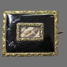 Victorian Enamel MOURNING BROOCH - Hair Jewelry