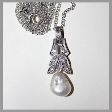 c1900 - antique DIAMOND & BAROQUE PEARL Necklace / Pendant - 14k white gold