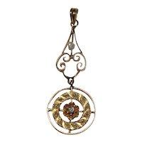 Antique LAVALIERE / PENDANT - Diamond & Baroque Pearl  - 10K Gold