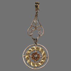 Antique LAVALIERE / PENDANT - Diamond & Baroque Pearl  - 10K Gold