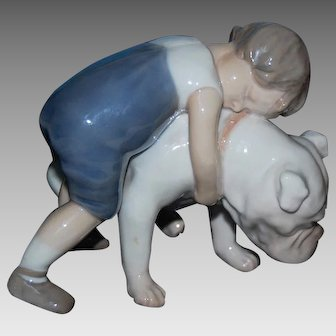 Boy Hugging BULLDOG - #1790, Bing & Grondahl, Denmark, DISCONTINUED, Mint
