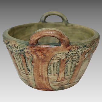 Weller Pottery - FOREST BASKET w/ HANDLES - 1920's, Fine Condition