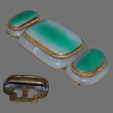 Antique JADE BUCKLE - Chinese 19th Century - Large / Brass Mounted
