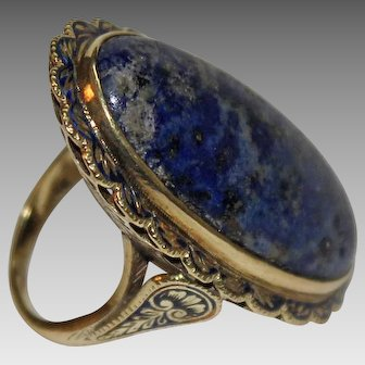 Large SWISS LAPIS RING - 14K Gold / Blue Enamel / Ornate / Gorgeous!