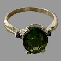 Vintage GREEN TOURMALINE Ring  - 14k White Gold / Sapphires / Signed DASON