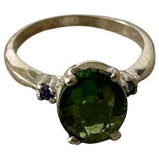 Vintage GREEN TOURMALINE Ring  - 14k White Gold / Sapphires / Signed DASON
