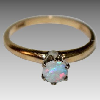 Solitare OPAL RING --14K Gold Mounting, Signed, Pretty!