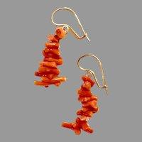 Long Vintage CORAL EARRINGS - 14K gold / Orange Branch Coral