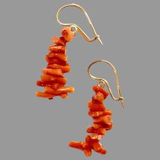 Long Vintage CORAL EARRINGS - 14K gold / Orange Branch Coral