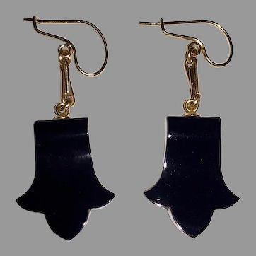 Long Victorian EARRINGS - 14K Gold & Black Onyx