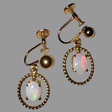 Vintage OPAL EARRINGS - 14k Gold Drop Earrings / Non Pierced