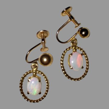 Vintage OPAL EARRINGS - 14k Gold Drop Earrings / Non Pierced