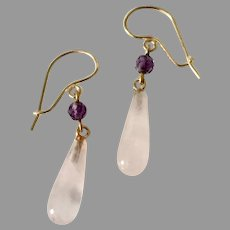 Vintage Rose QUARTZ & AMETHYST Earrings - 14k Gold