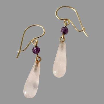 Vintage Rose QUARTZ & AMETHYST Earrings - 14k Gold