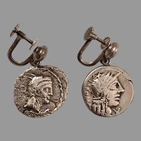 Vintage ROMAN COIN EARRINGS - Silver / Non Pierced Screwbacks / .