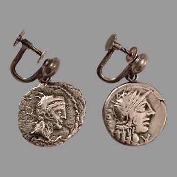 Vintage ROMAN COIN EARRINGS - Silver / Non Pierced Screwbacks / .