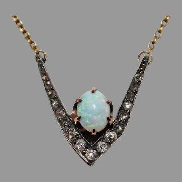 Antique Georgian OPAL & DIAMOND PENDANT - necklace
