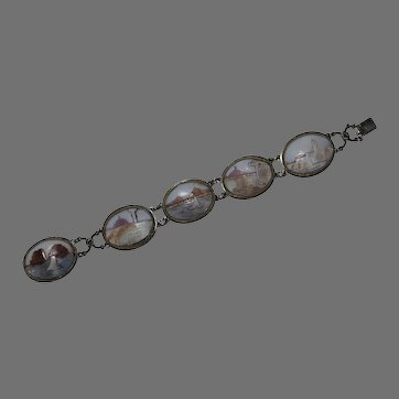 Antique Shell CAMEO BRACELET - 800 Silver / Scenic
