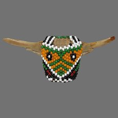 Old Native American BEADED SKULL - small mask