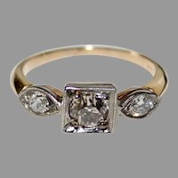 FINE Edwardian DIAMOND RING - 14K Gold - 3 Stone Diamond Ring