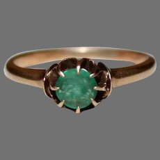Victorian EMERALD RING - 14K GOLD Mounting - Solitaire