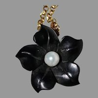 BLACK FLOWER Pendant  / Necklace - Jet / White Pearl / 14K Gold / 1920's