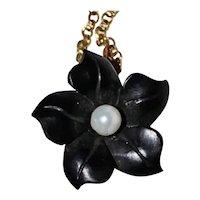 BLACK FLOWER Pendant  / Necklace - Jet / White Pearl / 14K Gold / 1920's