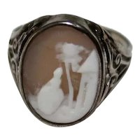 Antique SHELL CAMEO RING - Rebecca at the Well / 10K Art Deco Mounting