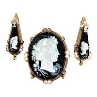 Antique CAMEO BROOCH EARRING SET / Black & White / 14K Gold / Pearl Accents - circa 1860