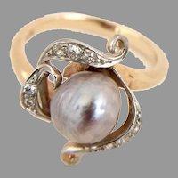 Vintage PEARL & DIAMOND RING - Gray Baroque Pearl - 14K Gold