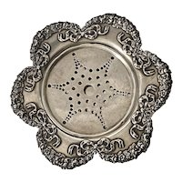 Antique GEORGE SHIEBLER Sterling Butter Dish w/ Pierced Liner - JEC