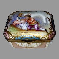 Antique FRENCH PORCELAIN BOX - Courtship Scene - Pink Blue Green White Gold Box - c1890