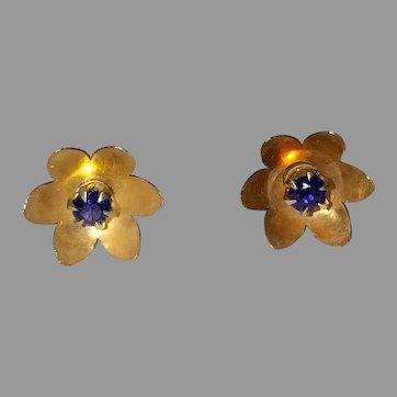 Vintage 14K Sapphire Flower Earrings