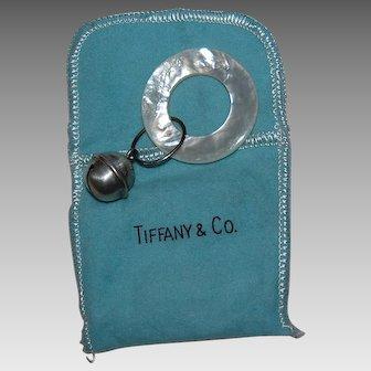 Vintage TIFFANY & CO. BABY ITEM - Mother of Pearl & Sterling Bell Teething Ring / Original Bag