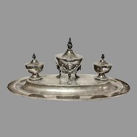 Antique STEPHEN SMITH English Sterling Inkwell – triple well, 19th Century, London, RARE