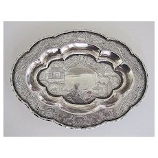 19th Century DRAGON TRAY - Solid Silver China Trade