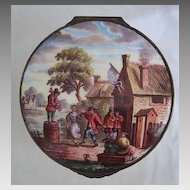 19th Century ENAMEL BOX - Villager's Dancing Scene