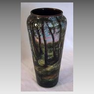 Signed Antique LIMOGES ENAMEL VASE - Landscape Scene & Figure
