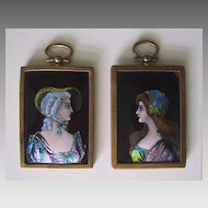 Antique LIMOGES ENAMEL Portraits (pair) / framed