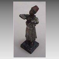 Antique AUSTRIAN BRONZE - bronze & enamel figurine (ARAB BOY)