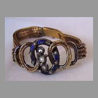 c1850, Signed ANTIQUE BRACELET - Rose Diamonds, Enamel, 18K