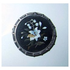 Victorian MOSAIC FLOWER BROOCH - Floral Motif, Ornate Frame
