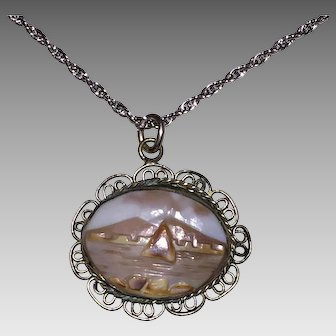 Vintage SHELL CAMEO LANDSCAPE Pendant - Mountains & Water (Sterling Silver frame & chain)