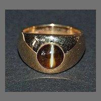 c1930, Signed GYPSY RING - Cat's Eye Stone / 14K Gold (J.E. Caldwell)
